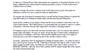 Letter to Prime Minister – Regarding the atrocities committed by Saudi Arabia in YEMEN