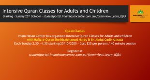 Intensive Quran Classes for Adults and Children – Starting – Sunday 25th October