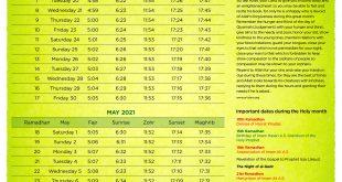 Ramadhan 1442 Calendar